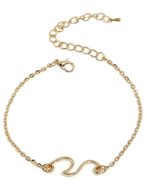 Beach Wave Alloy Chain Anklet - GOLD