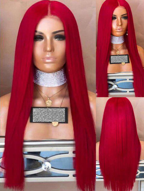 Long Middle Part Straight Synthetic Party Wig - CHESTNUT RED