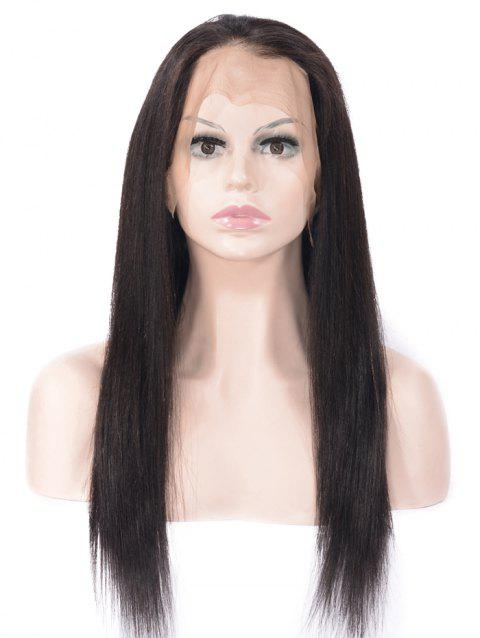 Human Hair Free Part Straight Lace Front Wig - NATURAL BLACK 16INCH