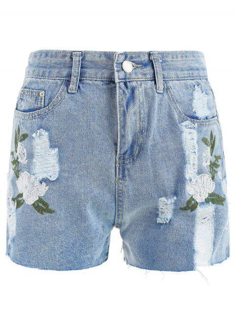 High Waist Ripped Denim shorts - LIGHT BLUE S