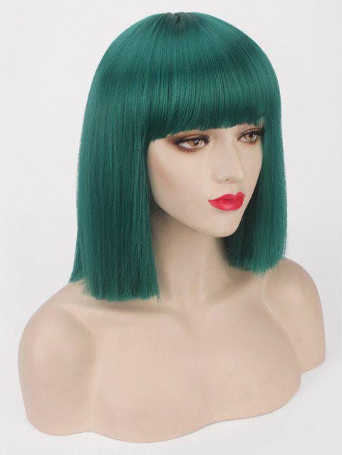 Short Full Bang One-length Straight Bob Synthetic Party Wig - YELLOW GREEN