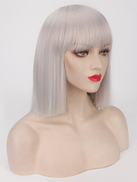 Short Full Bang One-length Straight Bob Synthetic Party Wig - PLATINUM