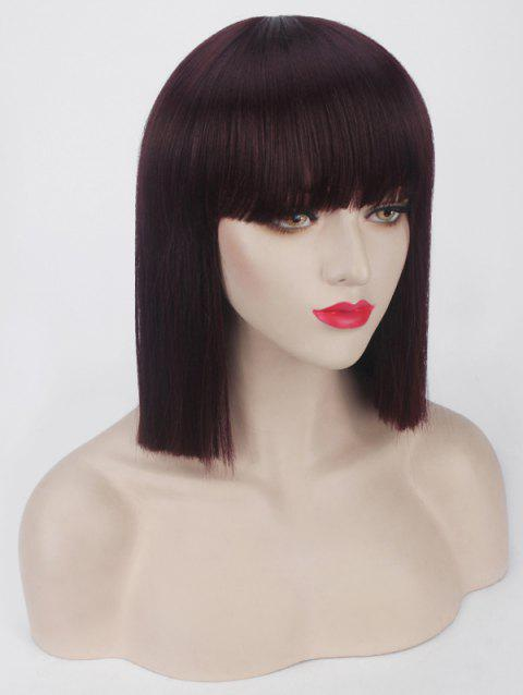 Short Full Bang One-length Straight Bob Synthetic Party Wig - DEEP BROWN