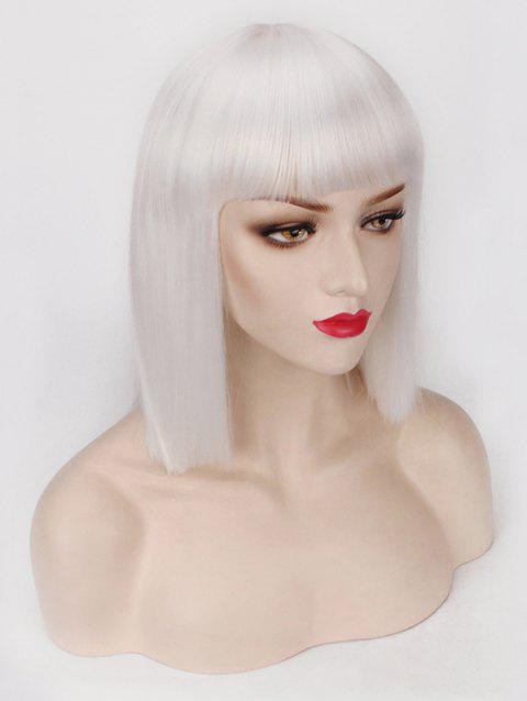Short Full Bang One-length Straight Bob Synthetic Party Wig - WHITE