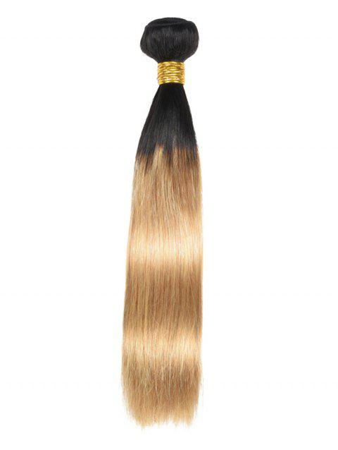 Ombre Straight Real Human Hair Weft - multicolor 14INCH