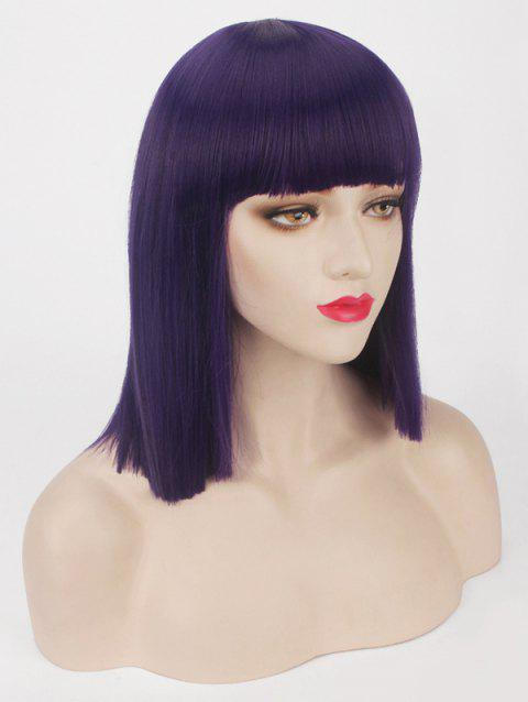 Short Full Bang One-length Straight Bob Synthetic Party Wig - PURPLE