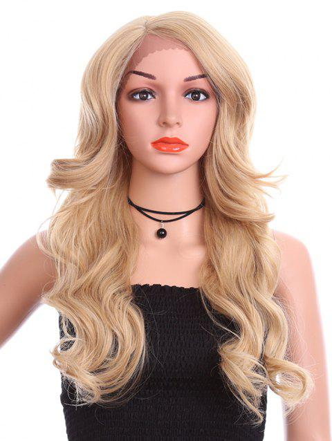 Side Parting Wavy Long Lace Front Synthetic Wig - BURLYWOOD