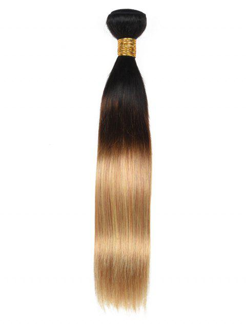 Real Human Hair Ombre Straight Hair Weft - multicolor 16INCH