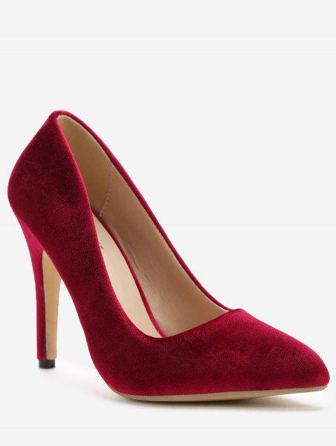 Slip-on Stiletto Heel Suede Pumps - RED WINE 36