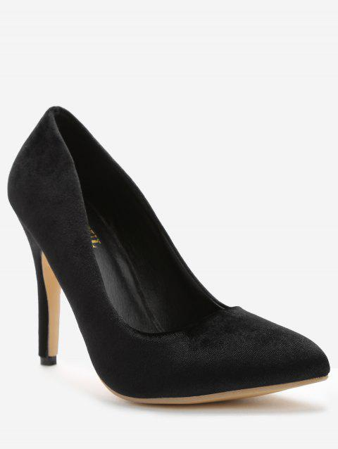 Slip-on Stiletto Heel Suede Pumps - BLACK 36