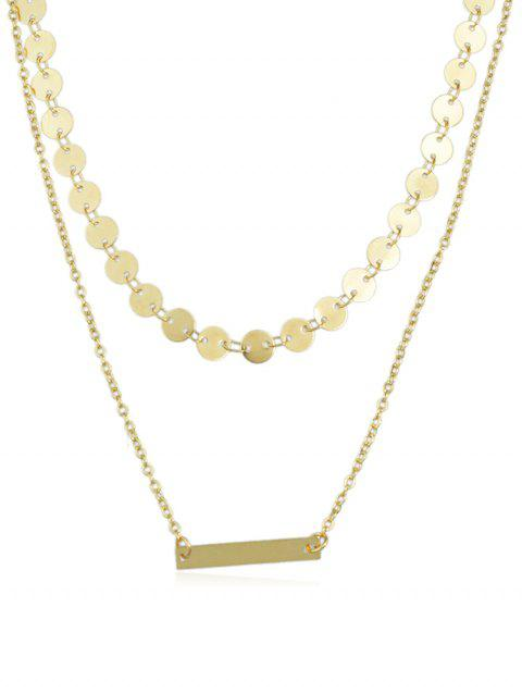 Alloy Layered Chain Disc Necklace - GOLD