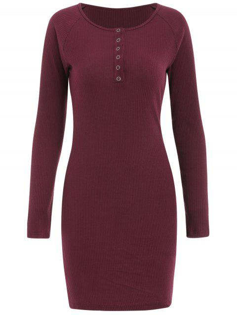 Long Sleeve Ribbed Mini Dress - RED WINE XL
