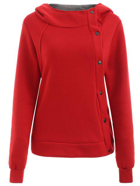 Metal Buttons Pullover Hoodie - RED M