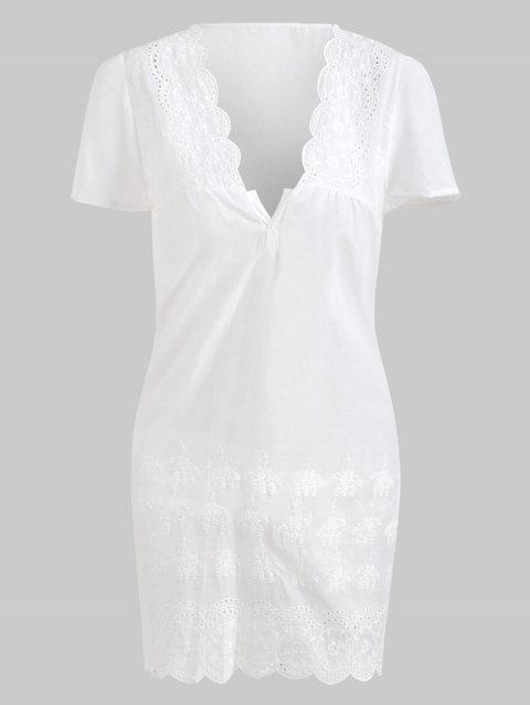 Sexy Plunging Neck Short Sleeve Solid Color Laciness Women's Dress - WHITE S