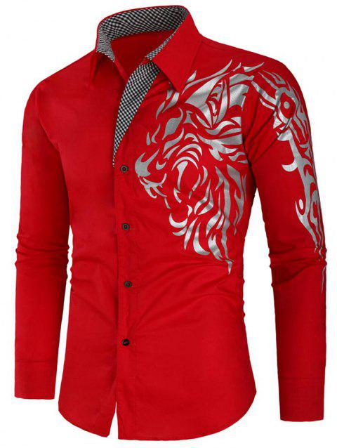 Long Sleeve Checked Panel Tiger Print Shirt - RED 2XL