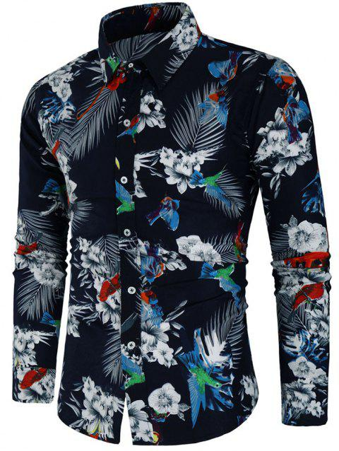 Long Sleeve Animal Flower Print Shirt - multicolor 2XL