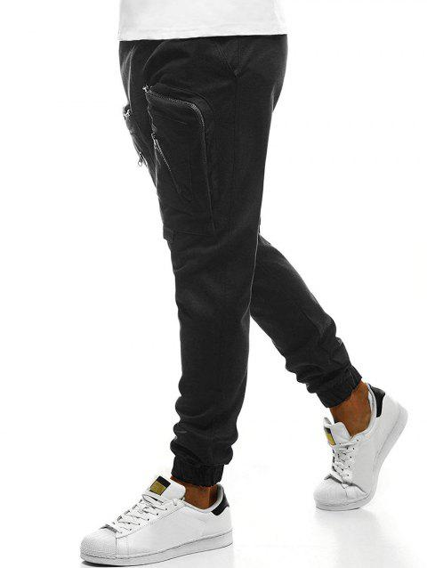Big Zipper Pockets Sports Jogger Pants - BLACK 3XL