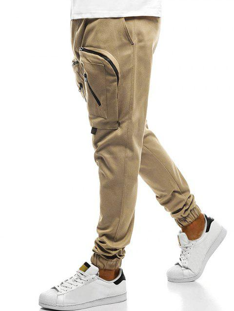 Big Zipper Pockets Sports Jogger Pants - LIGHT KHAKI XL