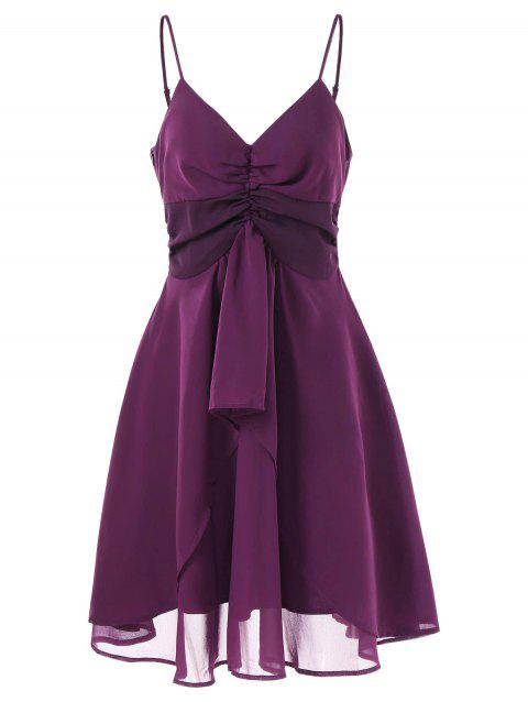 Spaghetti Strap Ruched Bust Asymmetrical Dress - PLUM PIE 2XL