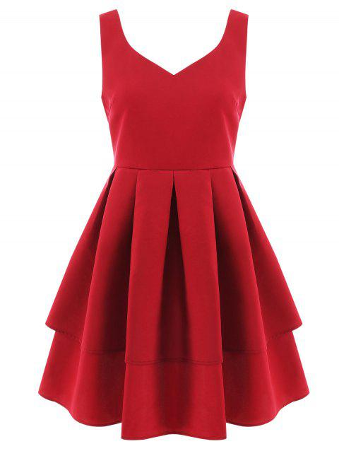 Open Back Flared Cocktail Dress - RED L