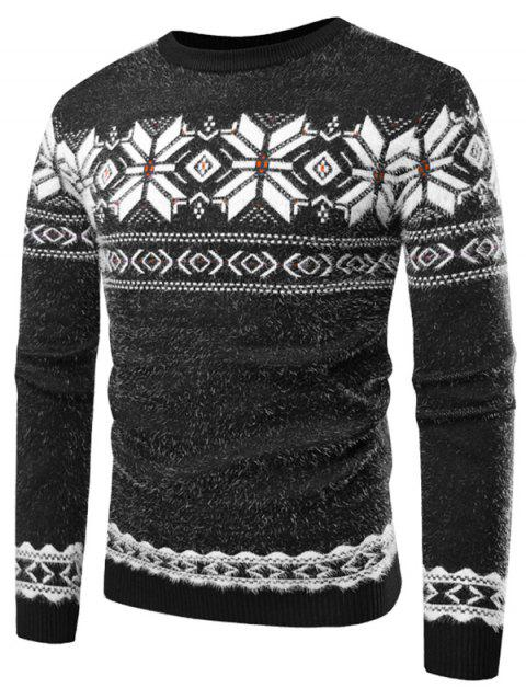Floral Pattern Long Sleeve Sweater - GRAY L