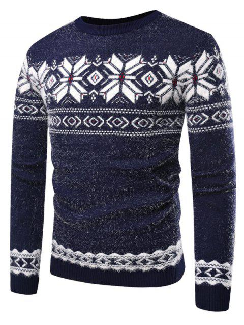 Floral Pattern Long Sleeve Sweater - BLUEBERRY BLUE M