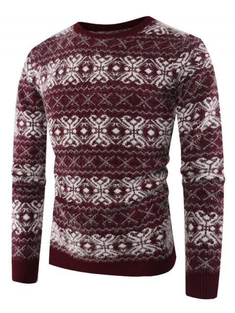 Crew Neck Cross Zig Zag Pattern Sweater - RED WINE XL