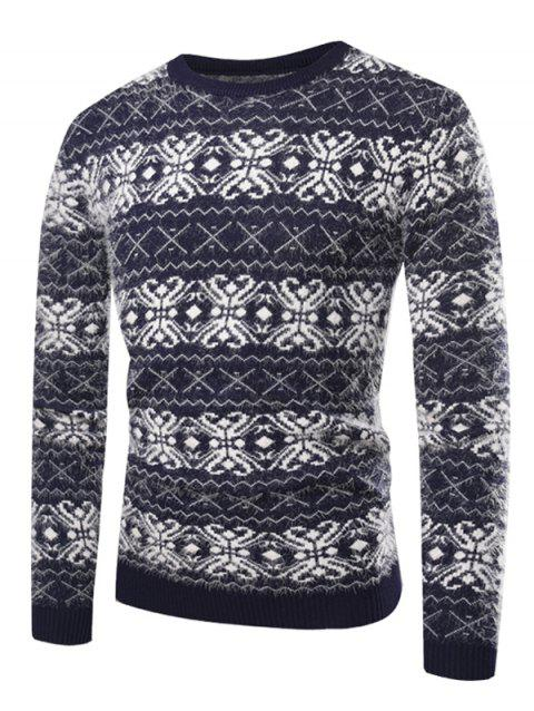 Crew Neck Cross Zig Zag Pattern Sweater - BLUEBERRY BLUE M