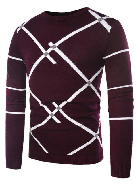 Casual Pullover Slant Stripe Sweater - RED WINE XL