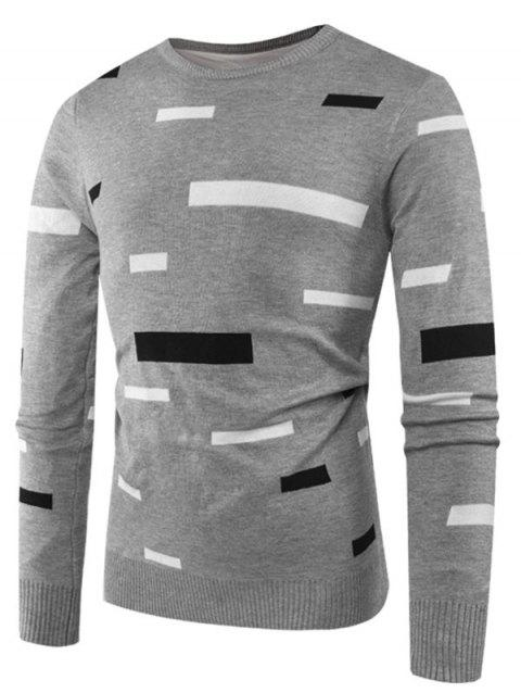 Rectangle Pattern Casual Pullover Sweater - BATTLESHIP GRAY M
