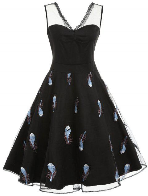 Feathers Embroidery Sleeveless Cocktail Dress - BLACK 2XL