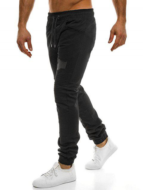 Casual Holes Patch Knee Pleated Jogger Pants - BLACK XS