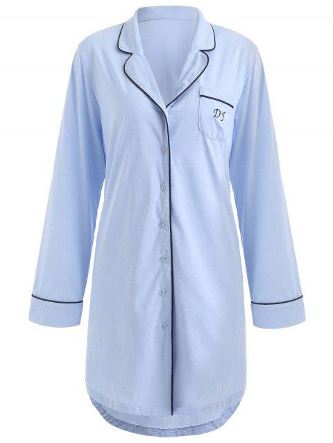 Lapel Pajama Dress - SKY BLUE M