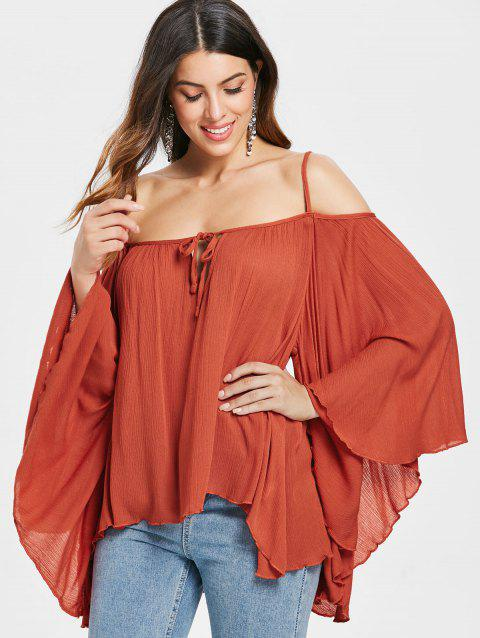 Tie Collar Butterfly Sleeve Blouse - CHESTNUT RED XL