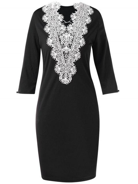 Crochet Lace Panel Back Bodycon Dress - BLACK L