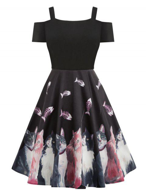 Open Shoulder Cat Print Flare Dress - BLACK 2XL