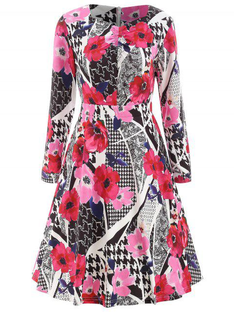 Abstract Print High Waist Dress - multicolor S