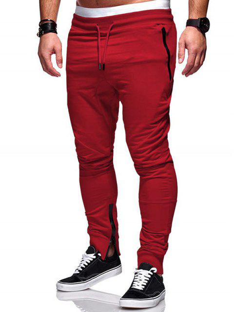 Side Zip Pockets Hem Jogger Pants - RED XS