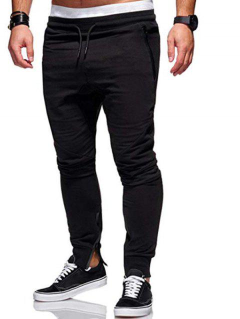 Side Zip Pockets Hem Jogger Pants - BLACK S