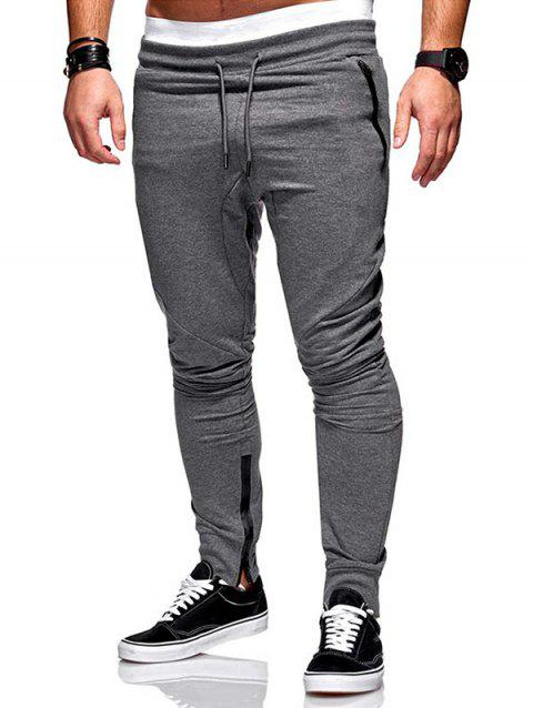 Side Zip Pockets Hem Jogger Pants - DARK GRAY S