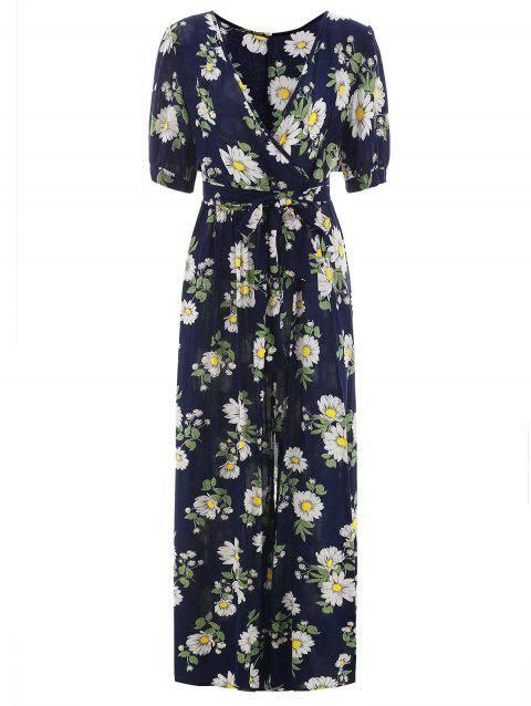 Full Floral Long Faux Wrap Dress - multicolor XL