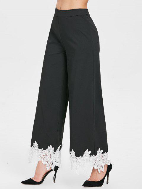 High Rise Lace Insert Palazzo Pants - BLACK M