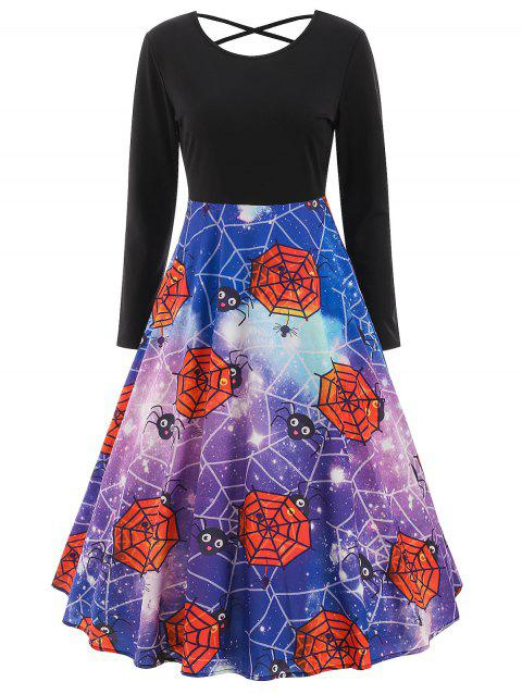 Halloween Print Criss-cross Dress - BLACK XL