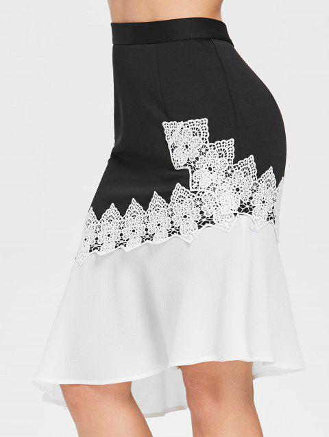 Floral Cocheted Insert Asymmetrical Skirt - BLACK L