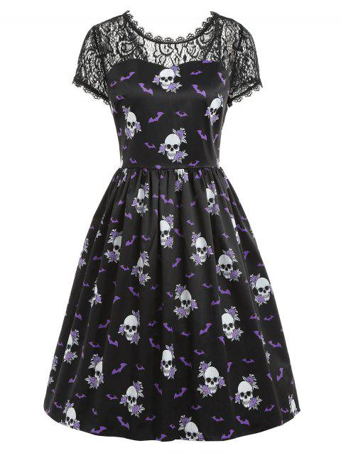 Halloween Skull Print Pin Up Dress - BLACK 2XL