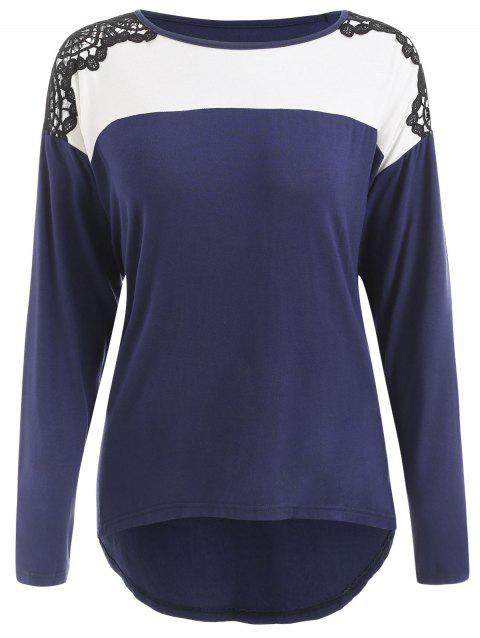 Crochet Panel Color Block Long Sleeve T-shirt - DEEP BLUE L