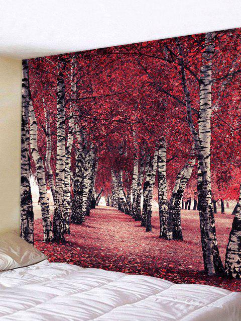 Maple Forest Path Print Tapestry Wall Decor - CHERRY RED W91 INCH * L71 INCH