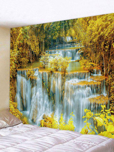 River Waterfalls Print Tapestry Wall Art - GOLDEN BROWN W91 INCH * L71 INCH