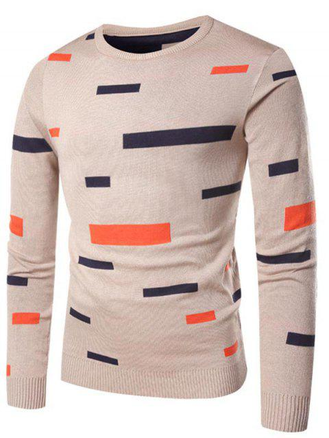 Rectangle Pattern Casual Pullover Sweater - LIGHT KHAKI L