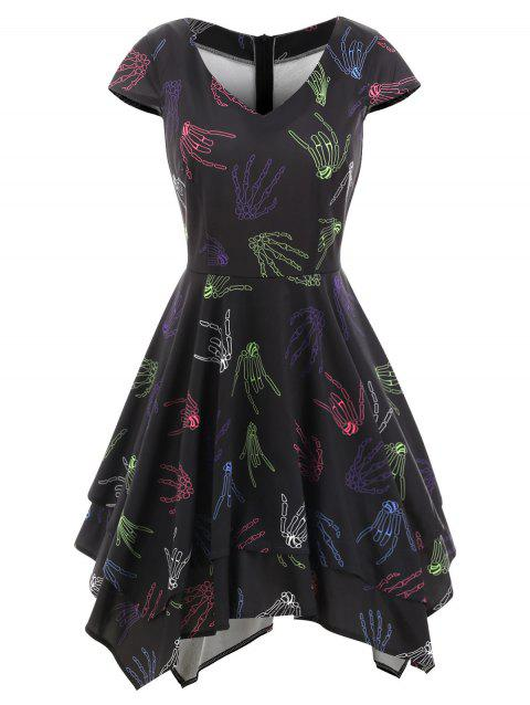 Robe Mouchoir Halloween Main Squelette - Noir 2XL